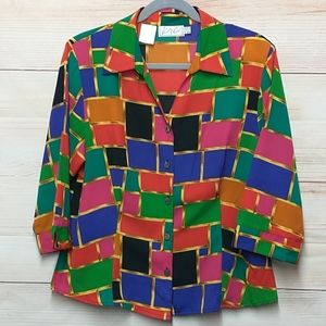 Kathy Che Vintage 80's Multicolored Blouse